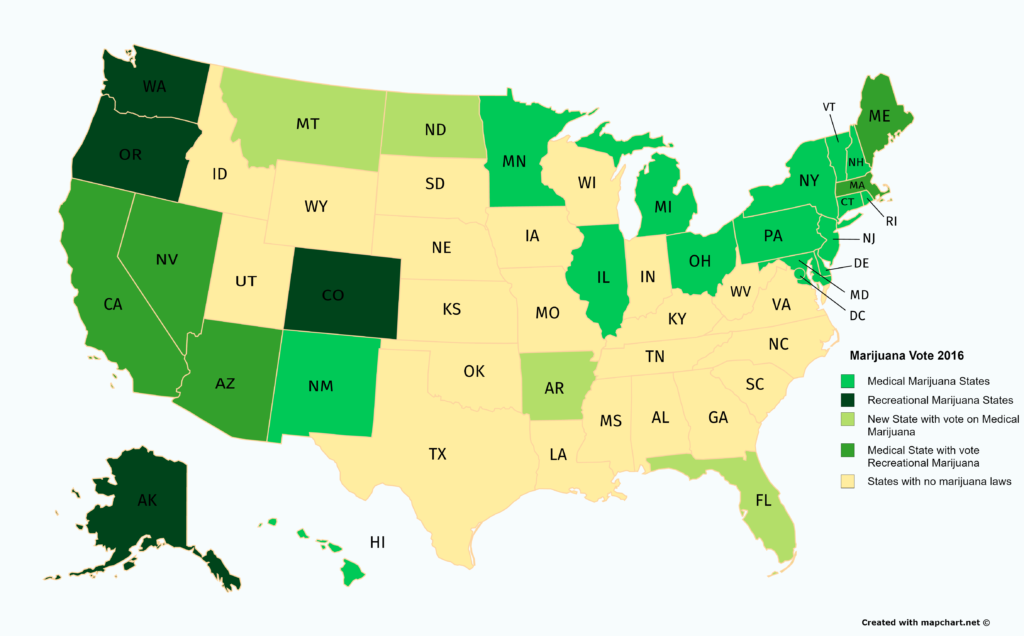 Marijuana Map Of The US After The Election Its Green - 2016 us map vote